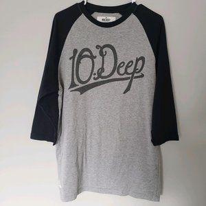 10.Deep   Gray Black 3/4 Raftan Sleeve Tee L